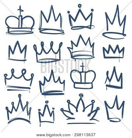 Doodle Crown. Kingdom Tiaras Crowns King Queen Corona Princess Diadem Sketch Doodle Drawn Royal Jewe