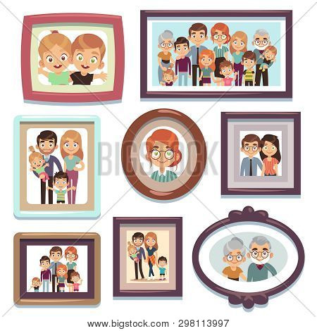 Family Portrait Photos. Pictures People Photo Frame Happy Characters Relatives Dynasty Parents Kids