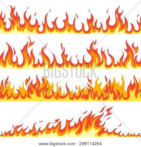 Seamless Fire Flame. Fires Flaming Pattern, Flammable Line Blaze Hot Temperature, Gas Blazing Wallpa