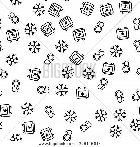 Refrigerator And Freezer Seamless Pattern Vector. Deep Freezer, Snowflake And Temperature Thermomete