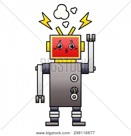 gradient shaded cartoon of a robot malfunction