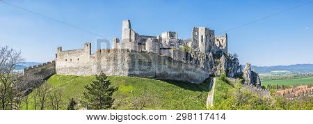 Beckov Castle Ruins, Slovak Republic, Europe. Travel Destination. Panoramic Photo.