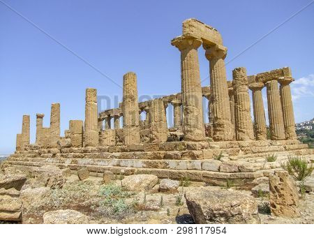 Temple Of Juno Lacinia Near A City Named Agrigento Located In Sicily, Italy