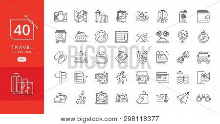 Simple Travel Icons Set. Travel And Vacation Icon Set. Travel, Flight, Accommodation, Destination Bo