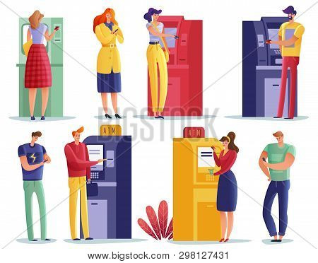 Atm Payments People Set. Queue People Waiting Their Turn To Use The Atm Set. Isolated Items Easily E