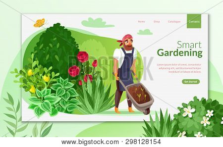 Gardening Cartoon Landing Page.a Man With A Garden Wheelbarrow Caring For The Garden Landing Page