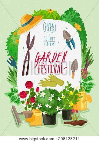 Garden Cartoon Posteroutdoor Garden Landscape Isolated Plants Cartoon Vertical Poster. Summer And Sp