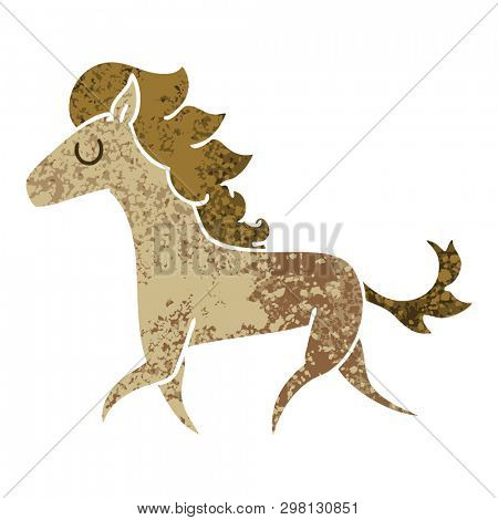 retro illustration style quirky cartoon running horse
