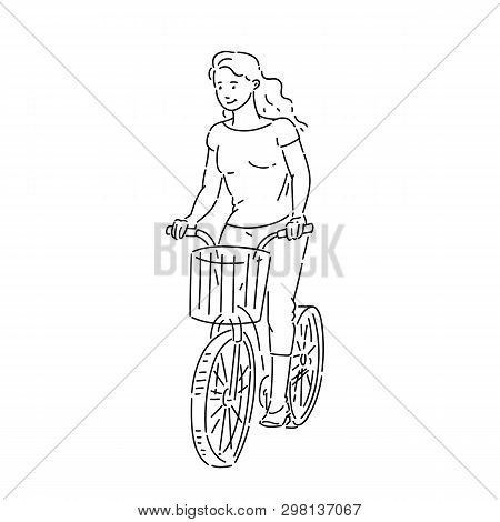 Girl Rides Bicycle With Shopping Basket In Summer Time Line Art Style Character Vector Black White I