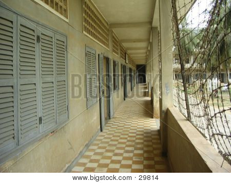 Toul Sleng_Cambodia: Corridor With Cells And Barbed Wire