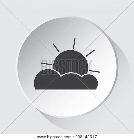 Weather Partly Cloudy - Simple Gray Icon On White Button With Shadow In Front Of Light Gray Square B
