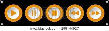 Orange, White Round Music Control Buttons Set - Five Icons In Front Of A Black Background With Round