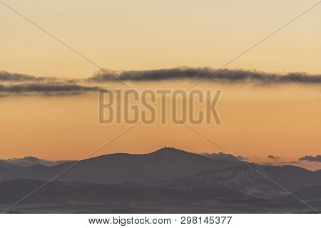 Lysa Peak In Winter Time On Sunrise. View From Fulnek Vrchy, Czech Republic