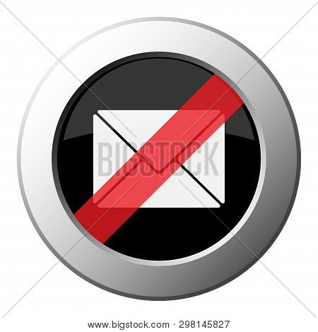 Mailing Envelope - Ban Round Metallic Push Button With White Icon On Black And Diagonal Red Stripe