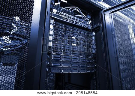 Blade Server In Rack Cluster Hard Drives Storage In Internet Data Center Room Black And White Tone