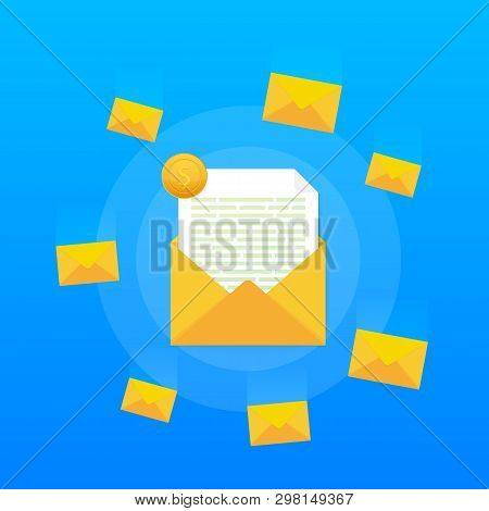 Email Marketing, Newsletter Marketing, Email Subscription. Vector Stock Illustration.