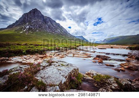 Beautiful River Mountain Landscape Scenery In Glen Coe, Scottish Highlands, Scotland