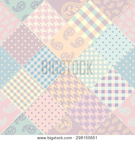 Patchwork Vector Pattern. Seamless Quilting Design Background.