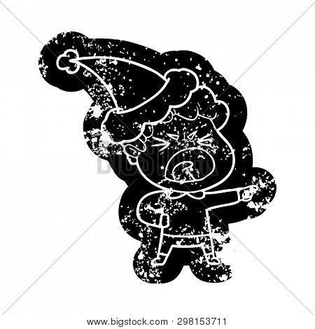 quirky cartoon distressed icon of a furious man wearing santa hat poster