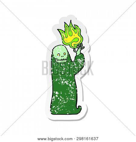 retro distressed sticker of a cartoon waving halloween ghoul