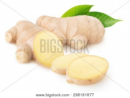 Isolated Ginger. Cut Fresh Ginger Root Isolated On White Background With Clipping Path