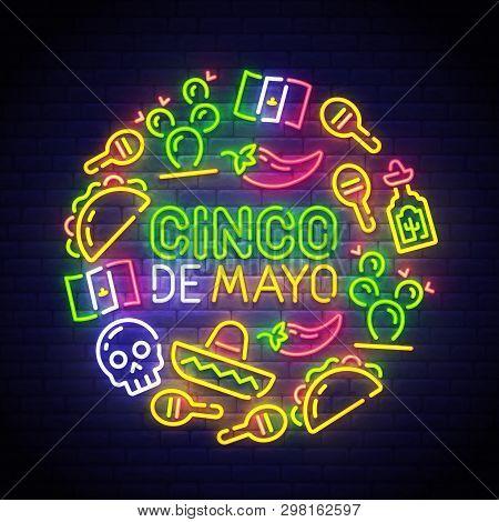 Cinco De Mayo Neon Sign, Bright Signboard, Light Banner. Mexico Logo Mexican Icons. Icon From Cinco