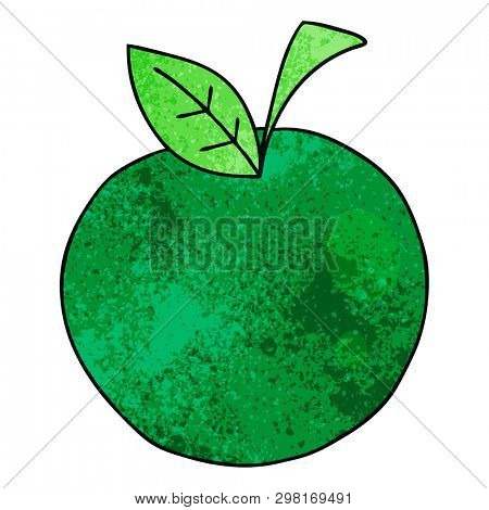 hand drawn quirky cartoon apple