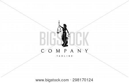 Lady Justice Statue Black Vector Logo Design