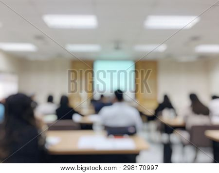 Abstract Blur Image Of Education People And Business People Sitting In Conference Or Meeting Room Fo