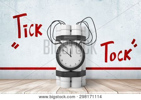 3d Rendering Of White Dynamite Stick Time Bomb On White Wooden Floor With Red Tick Tock Sign Above A
