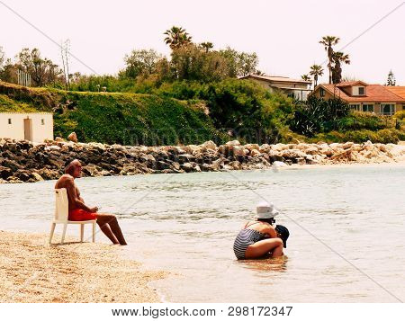 Sdot Yam Israel April 27, 2019 View Of Unknowns People Having Fun In The Beach Of Sdot Yam Kibbutz A