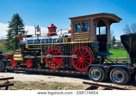 Elizabethtown, Pa - April 2019: Abe Lincoln Funeral Train Re-enactment