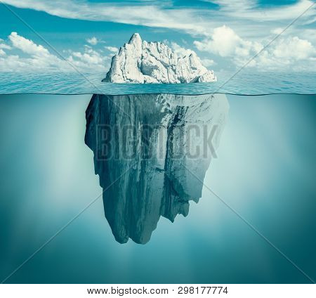 Iceberg in ocean. Hidden threat or danger concept. Central composition. Toned green 3d illustration.