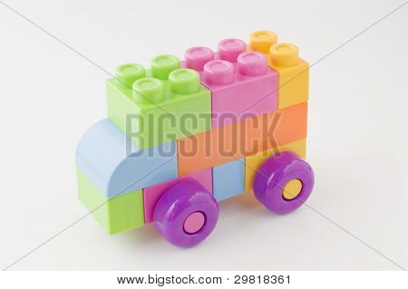 Toy car made in colorful blocks.