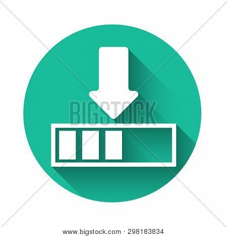 White Loading Icon Isolated With Long Shadow. Download In Progress. Progress Bar Icon. Green Circle