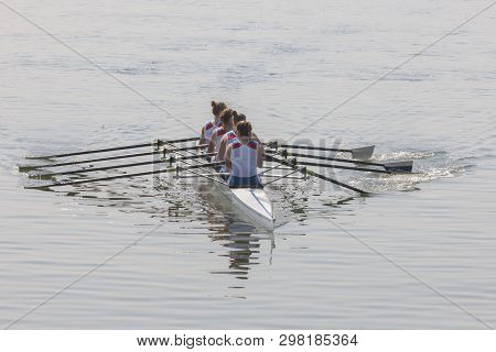 Rowers On Eight Rowing Rowing Boats On A Rowing Canal Sports Report