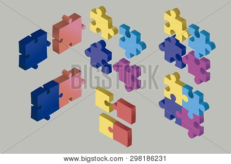 Isometric Puzzle Pieces Floating In The Air. Cooperation And Solution Concept. Some Pieces Joined An