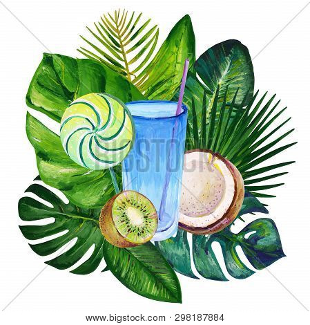 Gouache Summer Clipart With Tropic Leaves, Exotic Fruits And Sweets 3. Clipart For Art Work And Wedd