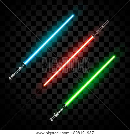 Set Of Futuristic Light Swords. Abstract Fantasy Saber. Vector Illustration Isolated On Dark  Backgr