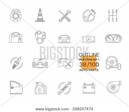 Modern Outline Linear Pictogram Of Auto Parts. Icons Of Auto Parts. Automotive Services Auto Parts.