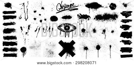 Very Nice Collection Of Black Paint, Great Elaboration, Spray Graffiti Stencil Template Ink Brush St