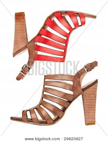 Two leather sandal shoes, with clipping path
