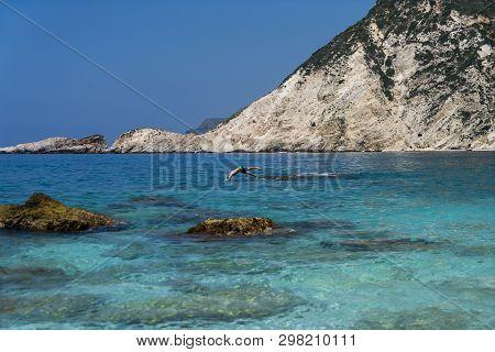 Mediterranean Landscape With Stone Beach In Summer