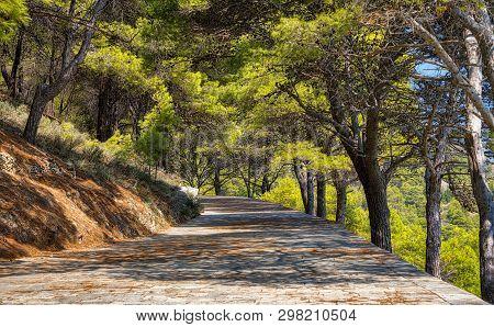 Mediterranean Alley On A Mountain In Summer