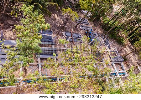 Top View Of A Hotel Construction Site Among Existing Trees Where Clients Will Keep For Nature Reserv