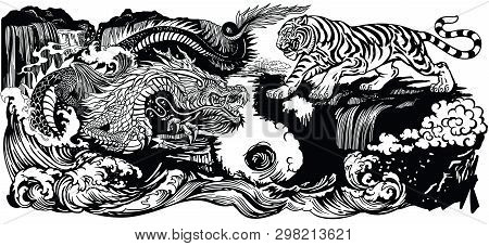 Chinese East Asian Dragon Versus Tiger In The Landscape With Waterfall And Water Waves  . Two Spirit