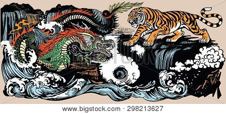 Green Chinese East Asian Dragon Versus Tiger In The Landscape With Waterfall And Water Waves  . Two