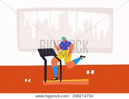 Jogging On Treadmill Flat Hand Drawn Illustration. Person Using Running Track Cartoon Character. Sta