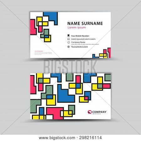 Vector Design Business Card Template, Creative Idea Modern Concept, Pastel Abstract Background, Geom