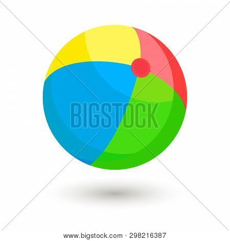 Bright Inflatable Ball. Green, Red, Yellow And Blue Striped Beach Ball Isolated On White Background.